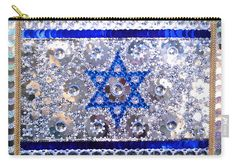 Flag of Israel. Bead embroidery with crystals Carry-All Pouch by Sofia Metal Queen. Our pouches are great. They're availabe in sizes from x up to x Each pouch is printed on both sides (same image). Jewish Art, Beaded Embroidery, Street Art, Mosaic, Judaism, Art Prints, Wall Art, Beads, Crystals