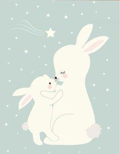 Poster Konijnen donker mint A4 Raad eens hoeveel ik van je hou...Met deze lieve konijntjes poster boven het bedje, gaat je kindje lekker dromen. De poster in donker mintgroen is een echte eyecatcher. De poster is ook erg leuk om cadeau te doen bij een babyshower of als kraamcadeautje.