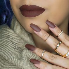 5O Shades Of Brown  I was talking to some of the girls in Miami about how much I wanted @lipkitbykylie and behold (True Brown)  was gifted to me for my birthday  how gorgeous is it , the formula is very creamy am impressed @kyliejenner did an amazing job , check out another swatch on my #snapchat ~ Nails @zaporaofficial nails polish (hot coffee) ~  Rings @thematerialgirlz ::: #glambymeli #kylielipkit #lipsticklover #nailporn #lotd #kyliejenner #kylie #truebrownk #lipkitbykylie #bblog