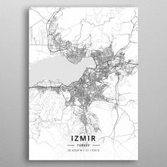 Izmir, Turkey - Light Map Poster by Designer Map Art - X Poster Prints, Art Prints, Posters, City Maps, Cartography, Map Art, Print Artist, Cool Artwork, Turkey