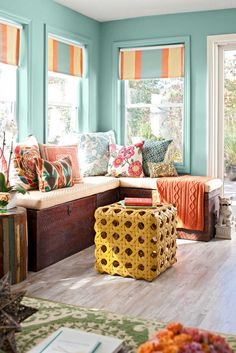 i love the paint the shades are a great alternative to drapes - Sunroom Decorating Ideas