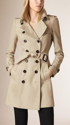 Burberry Prorsum Double Cotton Twill Trench Coat