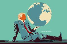 @Ivan Canu salzmanart.com client: die Zeit: The ridiculous dictator and the planet's doubt #editorial #trump #politics #earth #protocol