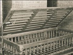 """Even after chaining was deemed inhumane for psychiatric patients, restraints and other devices were used to protect patients from harming others - or themselves. Today, few photographs exist of restraining tools - but this photo of a late 1840's """"Utica Crib"""" survived.  This crib is made out of intricately carved wood - many were made out of iron - and patients would sleep in it for extended periods of time until a regulatory crackdown curtailed restraint use for all but the most…"""