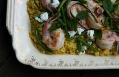 Israeli Couscous with Garlic Scapes, Shrimp and Feta Recipe   mostly foodstuffs