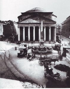 A historic photo of the Pantheon, Rome.