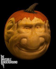 ❀⊱╮Watermelon Carving / Food Art / Fruit Art / food carving / Mort - pumpkin sculpture by Shawn Feeney Theme Halloween, Halloween Jack, Halloween Town, Halloween Pumpkins, Halloween Crafts, Happy Halloween, Halloween Ideas, Halloween Decorations, Homemade Halloween