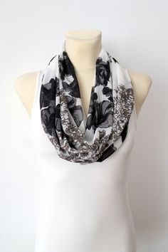 Floral Fashion Scarf - Black & White Infinity Scarf - Loop Scarf - Circle Fabric Scarf - Women Shawl - Unique Scarf - Printed Scarf - pinned by pin4etsy.com