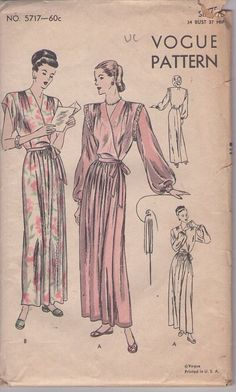 MOMSPatterns Vintage Sewing Patterns - Vogue 5717 Vintage 40's Sewing Pattern STUNNING Film Noir Starlet Bouffant or Cap Sleeve Pleated Skirt, Wrap Around Dressing Gown, Peignoir Robe, Negligee House Coat