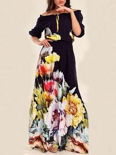 fd509fa3f5 Floral Printed Off-the-shoulder Half Sleeves Maxi Dress