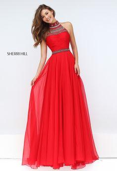 Beaded Sherri Hill 50182 Red A Line Chiffon 2016 Prom Dress