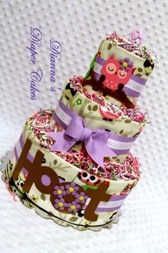 Pink & Purple Owl Baby Diaper Cake Shower Gift or Centerpiece created by Dianna's Diaper Cakes