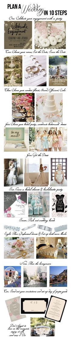 Ten steps to planning a wedding - a great guide for seeing the big picture of wedding planning.