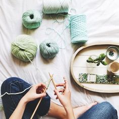 all our mint wool at We Are Knitters