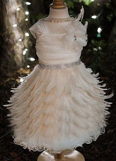 Couture Opulent Feather Dress Amazing for Portraits & Weddings! - Children's Valentine's Day Clothing