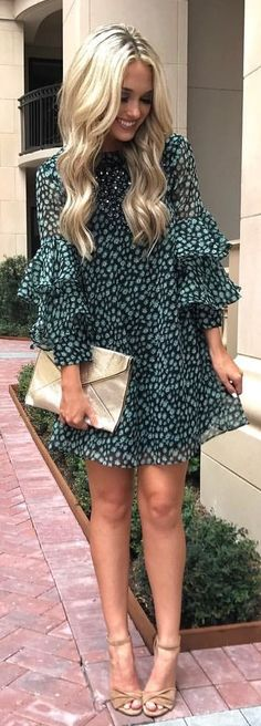 #winter #outfits black and gray floral long-sleeved dress and pair of brown stilettos outfit