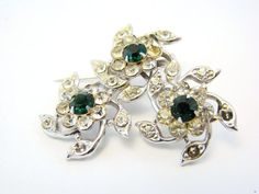 Vintage Clear and Green Rhinestone Floral Pin Brooch #vintage #jewelry