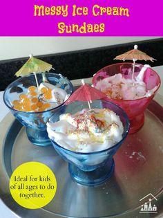 Do your kids like ice cream sundaes and enjoy messy play? Then they will love these pretend messy ice cream sundaes. Perfect for groups of children aged 2+ to do together.
