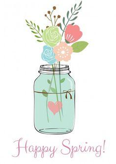Happy Spring! Pretty Free Printable via A Sparkle of Genius