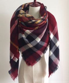 Burgundy Red, Navy Blue, and White Plaid Blanket Scarf Fall and Winter Scarves