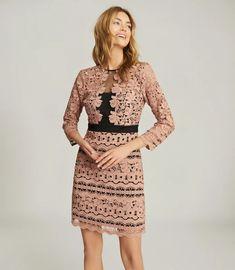 Lenny Pink Lace Mini Dress – REISS