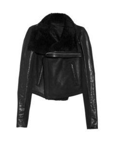 RICK OWENS • Shearling leather biker jacket
