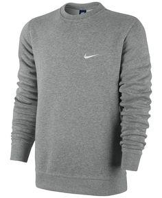 Mens Nike Fleece Sweatshirt Classic Crewneck With Nike Logo Large Gray Supreme Hoodie Sweatshirts, Crew Neck Sweatshirt, Pullover, Nike Fleece, Nike Outfits, Fleece Sweater, Men Sweater, Nike Clothes Mens, Mens Tees