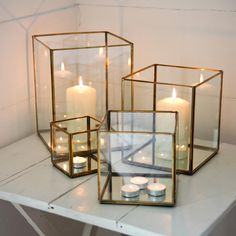 Simple and elegant, we love these Bimala Brass Lanterns. #brass #candles #homedecor