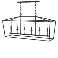 JONATHAN Y Pagoda 49 in. 6-Bulb Oil Rubbed Bronze Lantern Metal LED Pendant JYL7439A - The Home Depot
