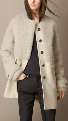 Shearling and Wool Melton Coat   Burberry