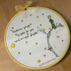 Is The Little Prince hed is to give such beautiful gifts to your loved ones 🌠. Cross Stitch Hoop, Cross Stitch Designs, Cross Stitch Patterns, Shirt Embroidery, Cross Stitch Embroidery, Embroidery Patterns, The Little Prince, Beautiful Gifts, Cross Stitching