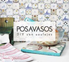Crea originales y decorativos #posavasos con baldosas blancas. #ideas #decoración