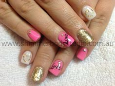 <3 Gel Nails, Glitter Nails, Pink, White And Gold Nails, Love  | Hear