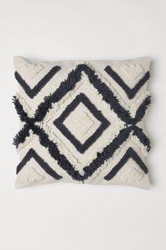 Wool-embroidered Cushion Cover - Light beige - Home All Cute Cushions, Scatter Cushions, Diy Pillows, Decorative Pillows, Throw Pillows, Shaggy Cushions, Lounge Cushions, Diy Cushion, Cushion Covers