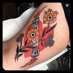 Double Sided Candle tattoo by @leonienewtattoos at Chapel Tattoo in Melbourne Australia #leonienewtattoos #leonienew #chapeltattoo #melbourne #australia #hearttattoo #flowertattoo #candletattoo #burningatbothends #tattoo #tattoos #tattoosnob
