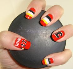 NHL Calgary Flames nails: GO FLAMES GO! Who says hockey and nail polish don't mix? Good luck tonight in the playoffs Get Nails, Hair And Nails, Hockey Nails, Icon Fashion, Angelica Blick, Tough As Nails, Summer Feeling, Fire And Ice, Mani Pedi