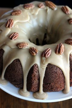 Apple Cream Cheese Bundt Cake.......apple cake, cream cheese filling and praline frosting.