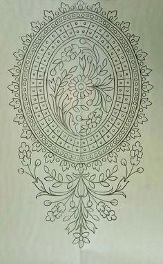 Hand Embroidery Design Patterns, Embroidery Motifs, Beaded Embroidery, Maggam Work Designs, Jewelry Design Drawing, Pencil Design, Paper Design, Designs To Draw, Free Design