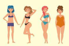 illustrazione di figure femminili che mostra le diverse localizzazioni del grasso