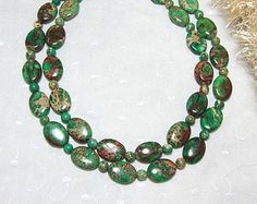 Items similar to Chunky Double Strand Statement Necklace Turquoise, Gold, and White, Dezaree on Etsy