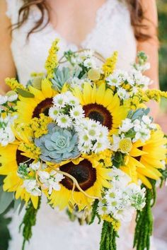 18 Brilliant Sunflower Wedding Bouquets For Happy Wedding ❤ Here you find idea. 18 Brilliant Sunflower Wedding Bouquets For Happy Wedding ❤ Here you find ideas how mix sunflower Yellow Bouquets, Sunflower Bouquets, Sunflower Headband, Sunflower Wedding Bouquets, Daisy Bouquet Wedding, Sunflower Centerpieces, Sunflower Party, Fall Wedding, Rustic Wedding