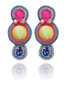 #Soutache #earrings, Soutache #jewerly, #handmade jewerly, #bijoux, #orecchini, #pendientes #fashion #design #madeinitaly #swaroski - ALMA EARRINGS