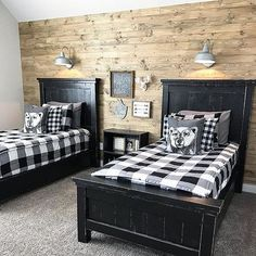 Guest bedroom shared bedroom home decorating ideas in 2019 с Rustic Kids Rooms, Bedroom Rustic, Men Bedroom, Country Boys Rooms, Country Teen Bedroom, Boy Bedroom Designs, Boys Farm Bedroom, Black And White Boys Bedroom, Boys Bedroom Sets