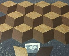 Installation photo of rd hexagons all cut from marmoleum