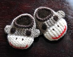 Wool Sock Monkey Slippers