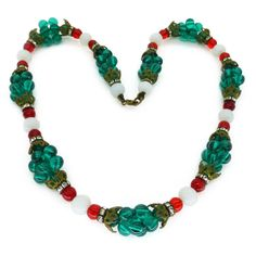 VINTAGE FRENCH 1940S GREEN GLASS CLUSTER BEAD RHINESTONE NECKLACE | Clarice Jewellery