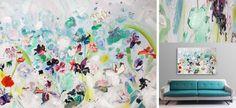 'Regen'   150 x 100 cm   acryl-aquarel, paletstukken & dikke lagen   v.a. 2 februari verkoopexpositie bij KunstKelder Haarlem centrum   www.ietsfraais.nl #kunst   #bloemen @Raakshalle @Haarlem