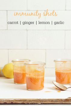 Immunity shots made with carrot, ginger, lemon and a punch of garlic.