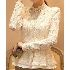 Faux Pearl Solid Color Ladylike Style Lace Thicken Long Sleeves Slimming Women's T-shirt