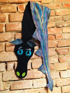 Dragon scarf wet felted, wool